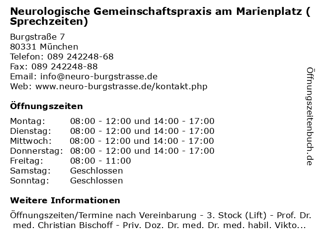 Neurologische Gemeinschaftspraxis am Marienplatz (Sprechzeiten) in München: Adresse und Öffnungszeiten