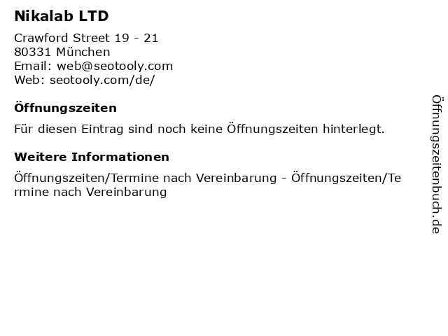 Nikalab LTD in München: Adresse und Öffnungszeiten