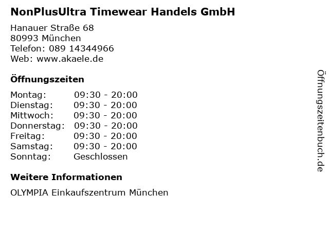 NonPlusUltra Timewear Handels GmbH in München: Adresse und Öffnungszeiten