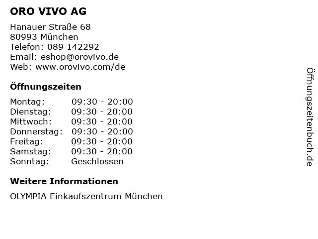 ORO VIVO AG in München: Adresse und Öffnungszeiten