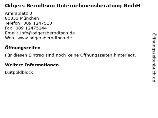 Odgers Berndtson Unternehmensberatung GmbH in München: Adresse und Öffnungszeiten