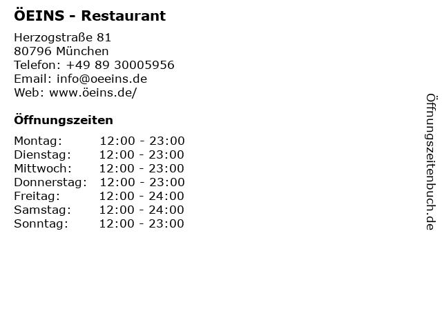 ÖEINS Schwabing in München: Adresse und Öffnungszeiten