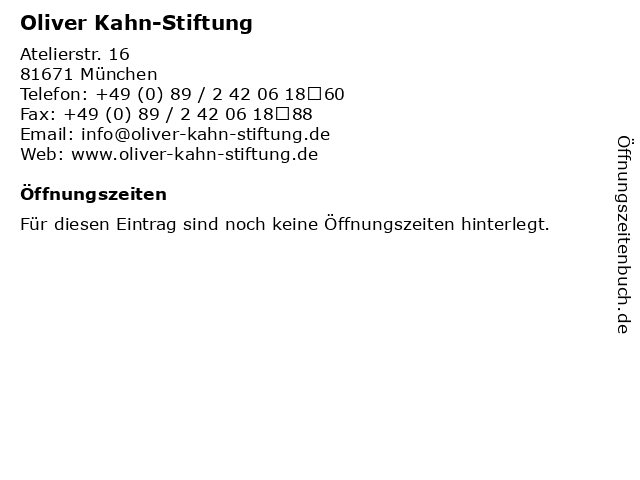 Oliver Kahn-Stiftung in München: Adresse und Öffnungszeiten