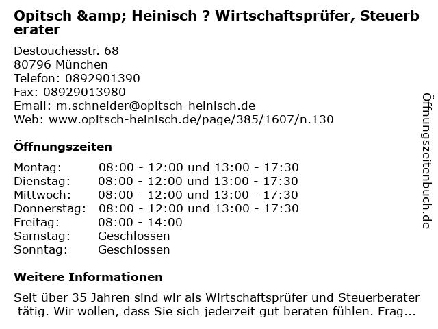 Opitsch & Heinisch ? Wirtschaftsprüfer, Steuerberater in München: Adresse und Öffnungszeiten