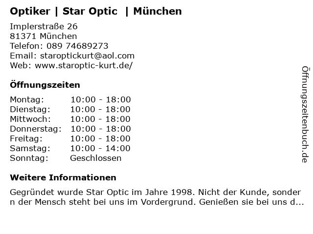 Optiker | Star Optic  | München in München: Adresse und Öffnungszeiten