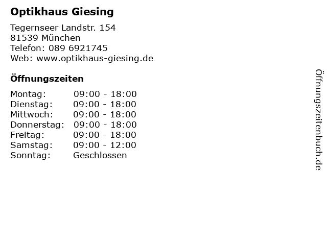 Optikhaus Giesing in München: Adresse und Öffnungszeiten