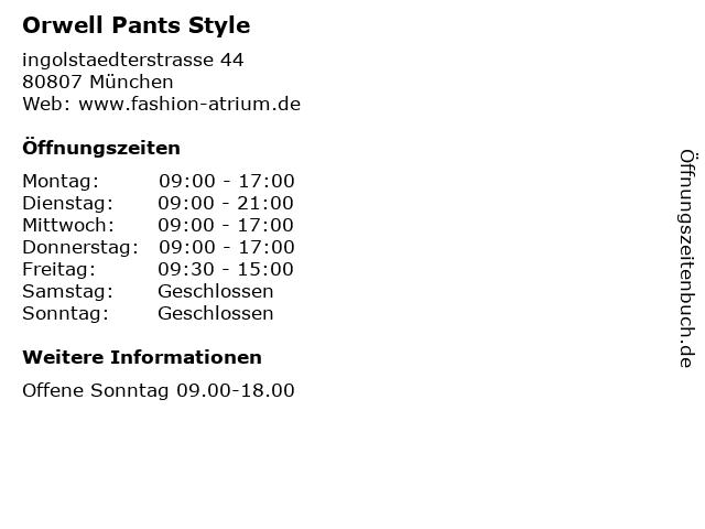 Orwell Pants Style in München: Adresse und Öffnungszeiten