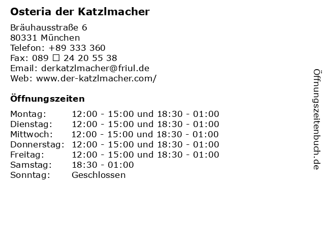 Osteria der Katzlmacher in München: Adresse und Öffnungszeiten