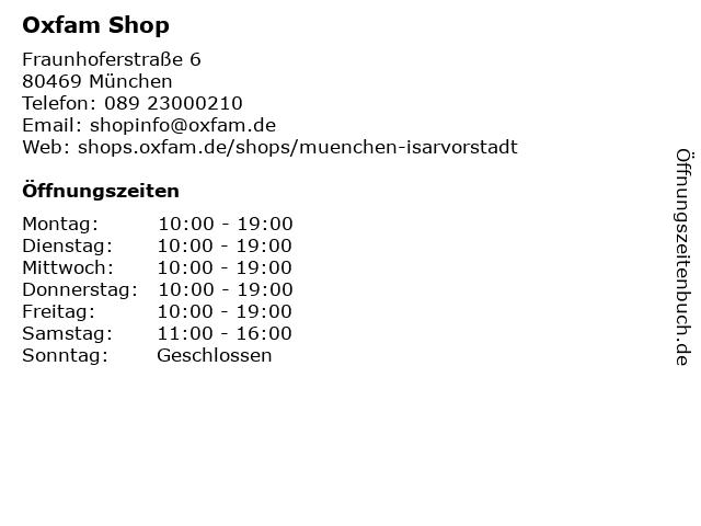 Oxfam Shop - Secondhand und mehr in München: Adresse und Öffnungszeiten