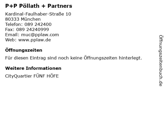 P+P Pöllath + Partners in München: Adresse und Öffnungszeiten