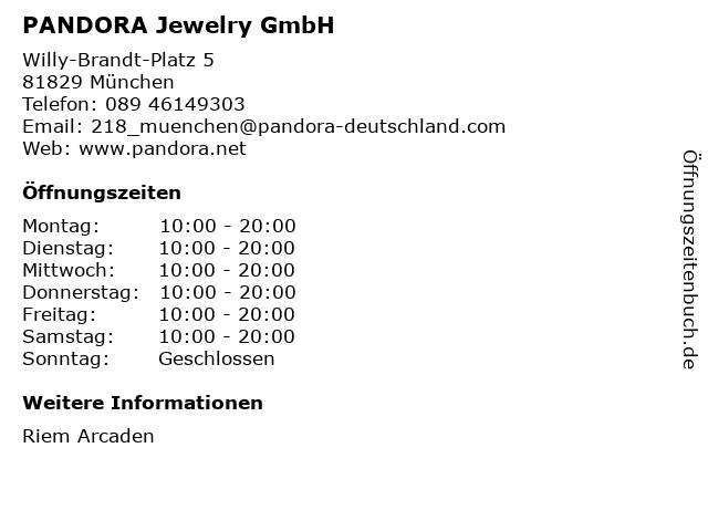 PANDORA Jewelry GmbH in München: Adresse und Öffnungszeiten