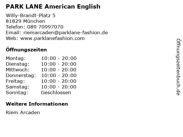 PARK LANE American English in München: Adresse und Öffnungszeiten
