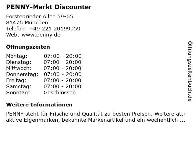 PENNY-Markt Discounter in München: Adresse und Öffnungszeiten