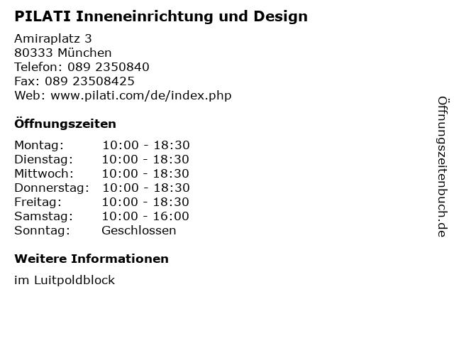 PILATI Inneneinrichtung und Design in München: Adresse und Öffnungszeiten