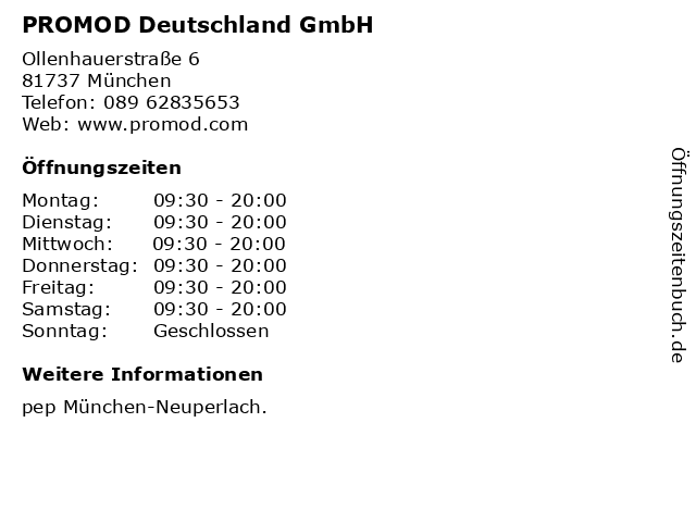 PROMOD Deutschland GmbH in München: Adresse und Öffnungszeiten
