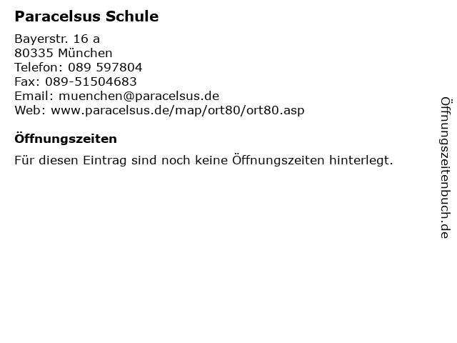 Paracelsus Schule in München: Adresse und Öffnungszeiten