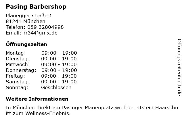 Pasing Barbershop in München: Adresse und Öffnungszeiten