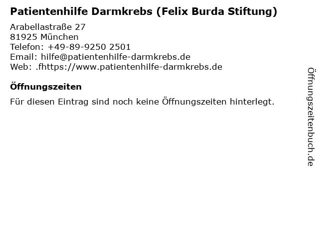 Patientenhilfe Darmkrebs (Felix Burda Stiftung) in München: Adresse und Öffnungszeiten