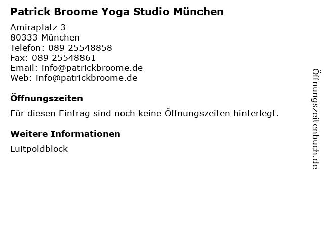 Patrick Broome Yoga Studio München in München: Adresse und Öffnungszeiten