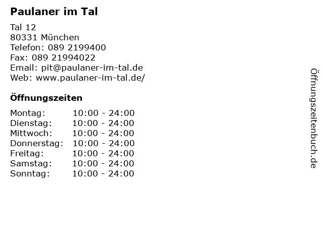 Paulaner im Tal in München: Adresse und Öffnungszeiten