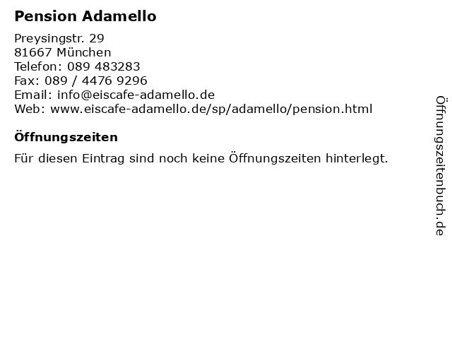 Pension Adamello in München: Adresse und Öffnungszeiten