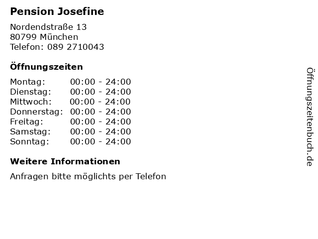 Pension Josefine in München: Adresse und Öffnungszeiten