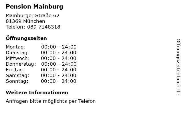 Pension Mainburg in München: Adresse und Öffnungszeiten