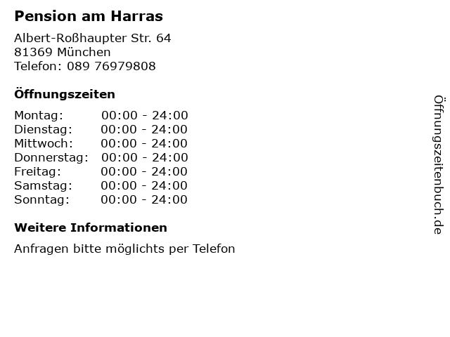 Pension am Harras in München: Adresse und Öffnungszeiten