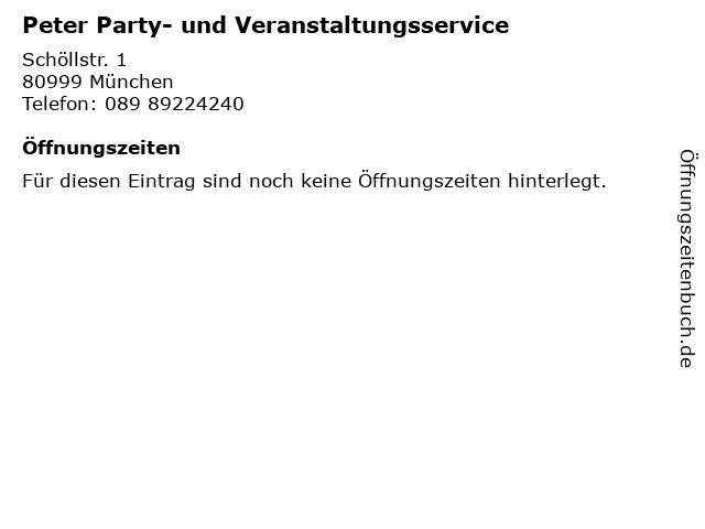 Peter Party- und Veranstaltungsservice in München: Adresse und Öffnungszeiten