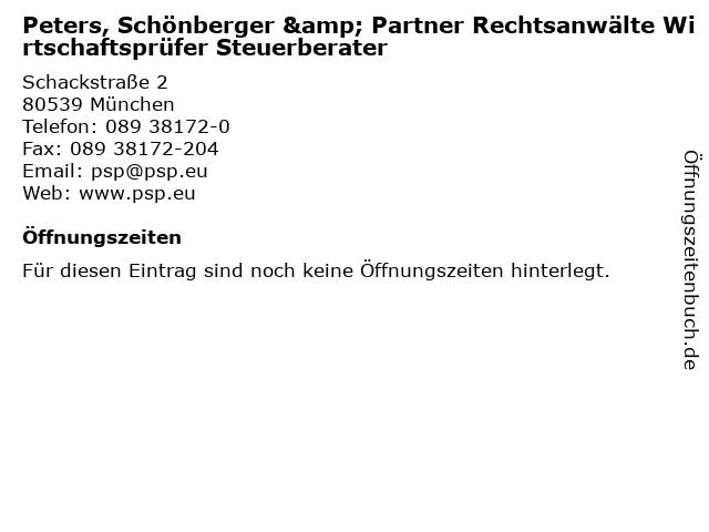 Peters, Schönberger & Partner Rechtsanwälte Wirtschaftsprüfer Steuerberater in München: Adresse und Öffnungszeiten