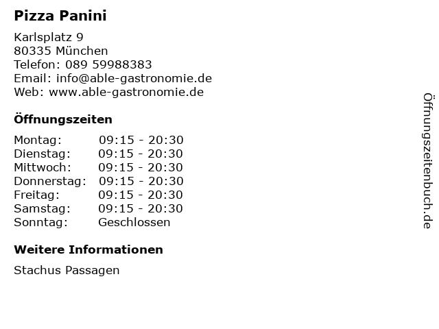 Pizza Panini in München: Adresse und Öffnungszeiten