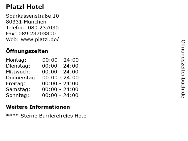 Platzl Hotel in München: Adresse und Öffnungszeiten
