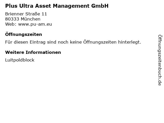 Plus Ultra Asset Management GmbH in München: Adresse und Öffnungszeiten