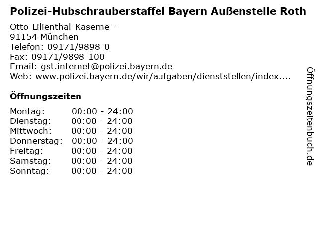 Polizei-Hubschrauberstaffel Bayern Außenstelle Roth in München: Adresse und Öffnungszeiten
