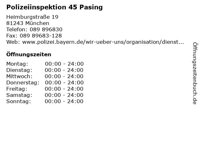 Polizeiinspektion 45 Pasing in München: Adresse und Öffnungszeiten