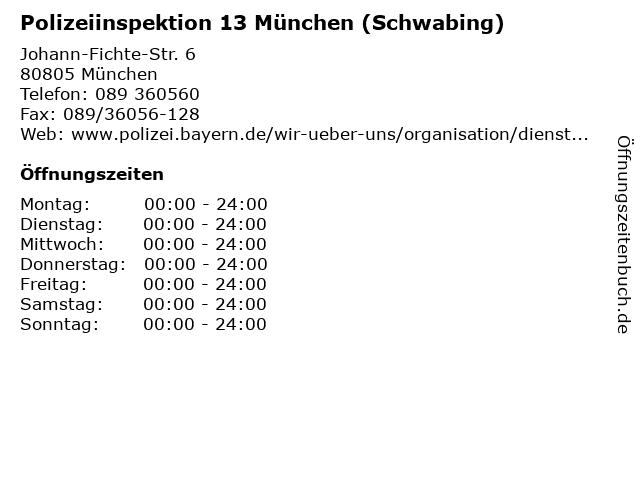 Polizeiinspektion München - 13 - Schwabing in München: Adresse und Öffnungszeiten