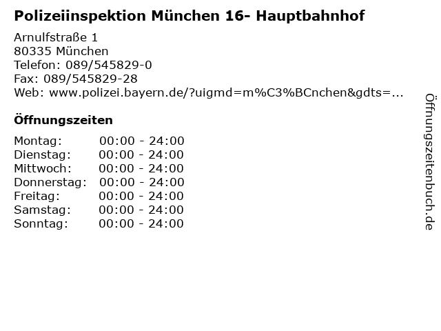 Polizeiinspektion München 16- Hauptbahnhof in München: Adresse und Öffnungszeiten