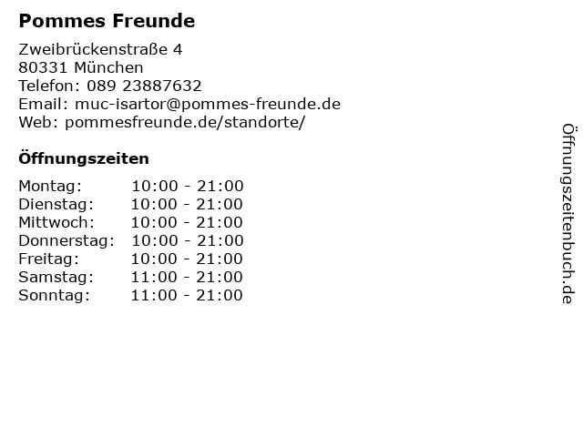 Pommes Freunde in München: Adresse und Öffnungszeiten