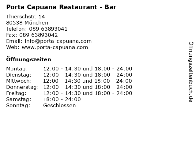 ᐅ öffnungszeiten Porta Capuana Restaurant Bar Thierschstr 14