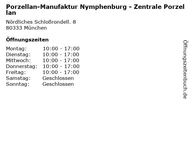 Porzellan-Manufaktur Nymphenburg - Zentrale Porzellan in München: Adresse und Öffnungszeiten