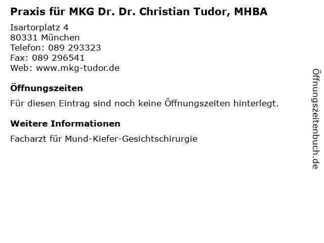 Praxis für MKG Dr. Dr. Christian Tudor, MHBA in München: Adresse und Öffnungszeiten