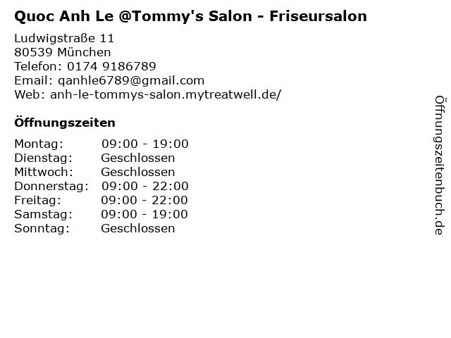 Quoc Anh Le @Tommy's Salon in München: Adresse und Öffnungszeiten