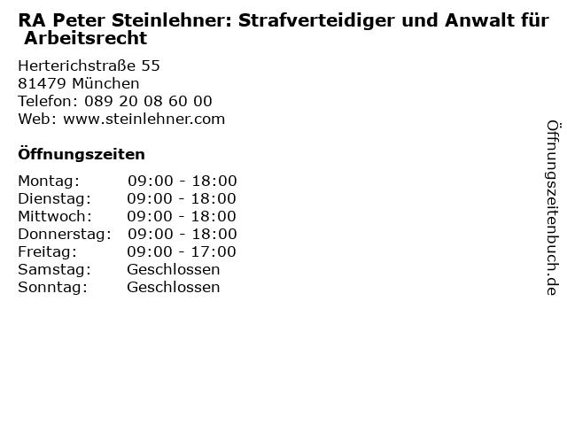 ᐅ öffnungszeiten Ra Peter Steinlehner Strafverteidiger Und Anwalt