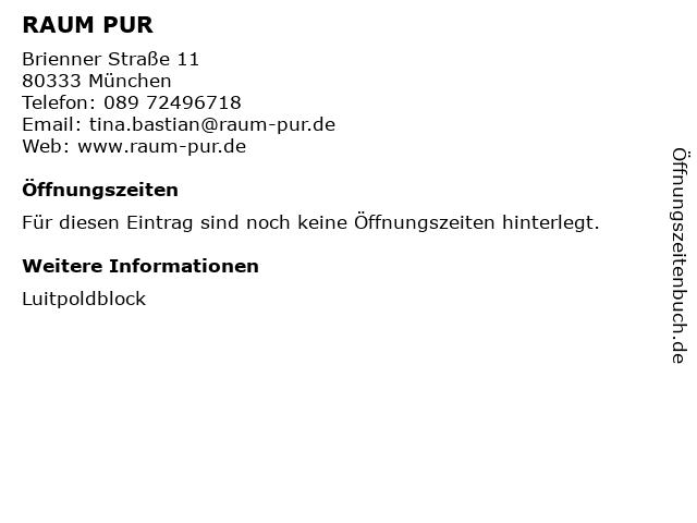 RAUM PUR in München: Adresse und Öffnungszeiten