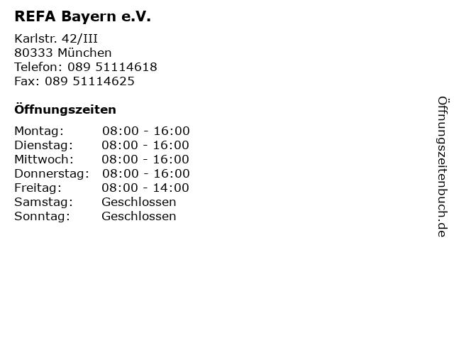 REFA Bayern e.V. in München: Adresse und Öffnungszeiten