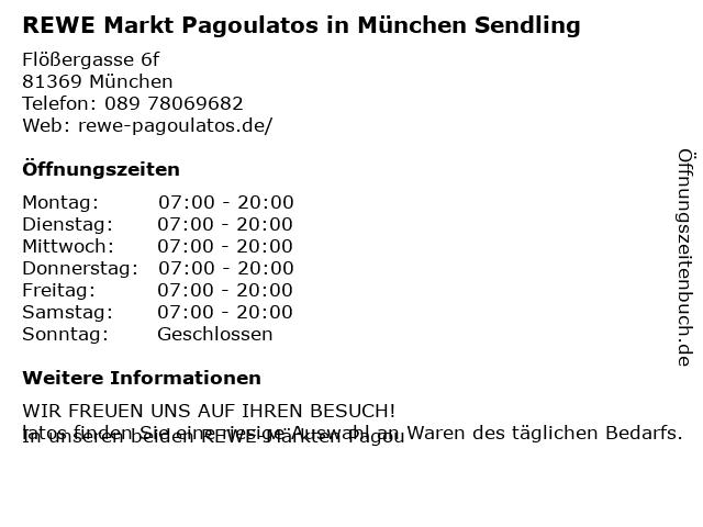 REWE Markt Pagoulatos in München Sendling in München: Adresse und Öffnungszeiten
