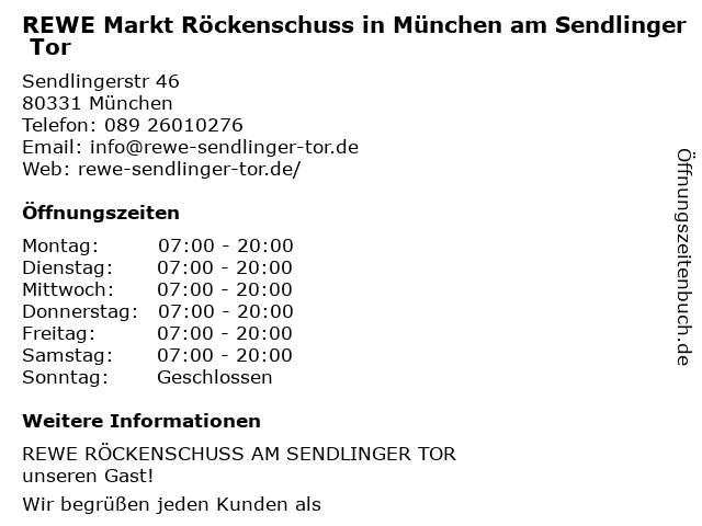REWE Markt Röckenschuss in München am Sendlinger Tor in München: Adresse und Öffnungszeiten