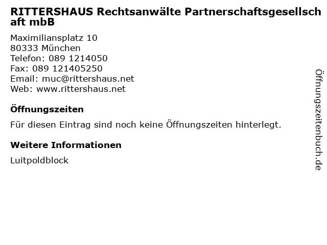 RITTERSHAUS Rechtsanwälte Partnerschaftsgesellschaft mbB in München: Adresse und Öffnungszeiten