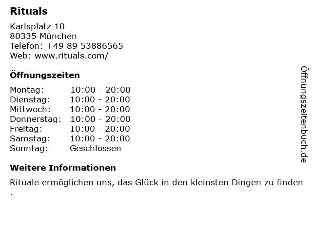 RITUALS Cosmetics Germany GmbH in München: Adresse und Öffnungszeiten