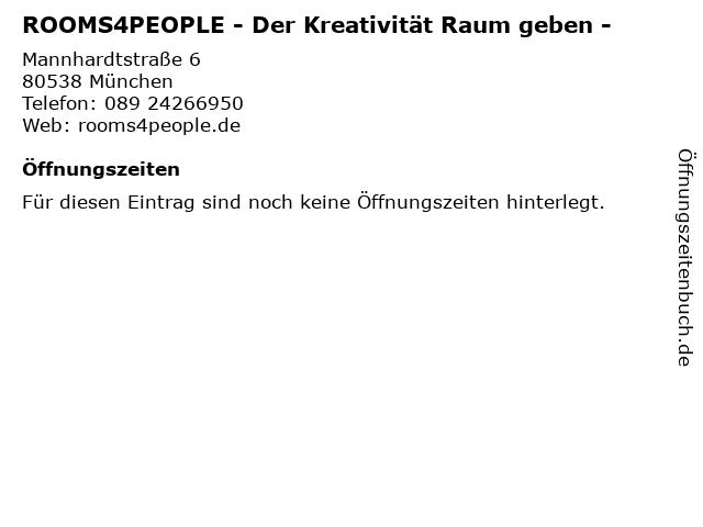 ROOMS4PEOPLE in München: Adresse und Öffnungszeiten